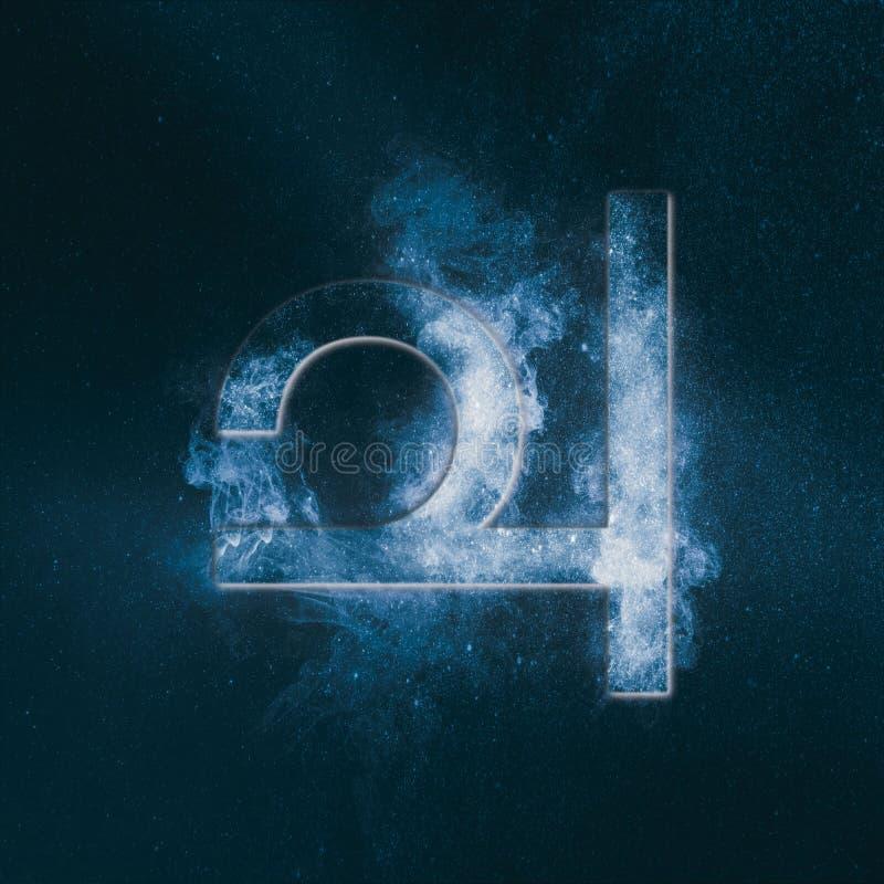 Planet Jupiter Symbol. Jupiter sign. Abstract night sky background. Symbol royalty free illustration