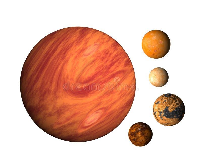 Planet Jupiter und Monde stock abbildung