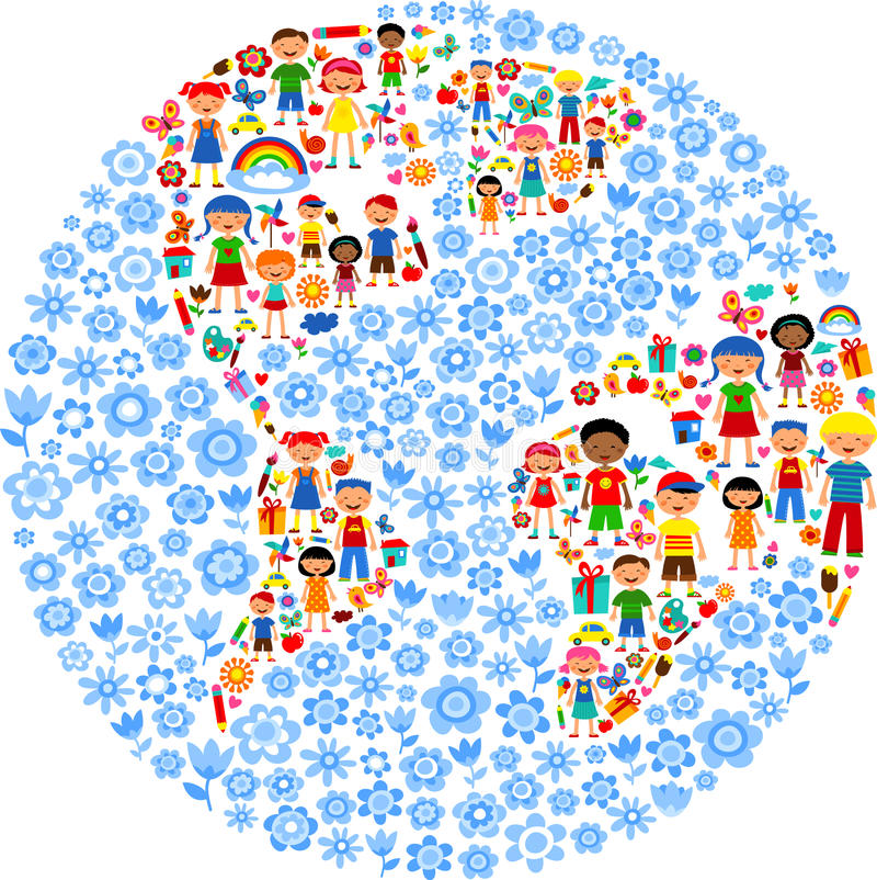 Planet Of Kids, Colorful  Illustration Stock Photos