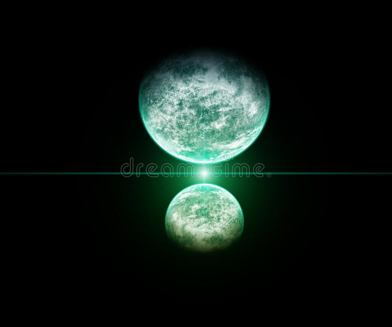 Planet Kiss with green star stock images