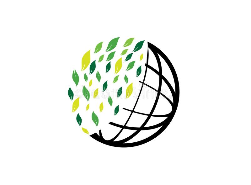 Planet lines with leaves world envirenment care for logo design vector, protect the globe icon, save earth symbol royalty free illustration