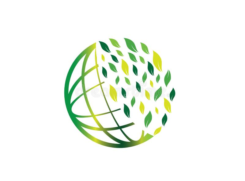 Planet lines with leaves world envirenment care for logo design vector, protect the globe icon, save earth symbol vector illustration