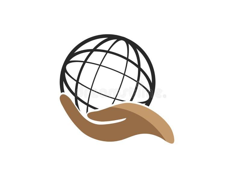Planet linii mapa z ręki envirenment światową opieką dla logo projekta wektoru, ochrania kuli ziemskiej ikonę oprócz ziemskiego s ilustracji