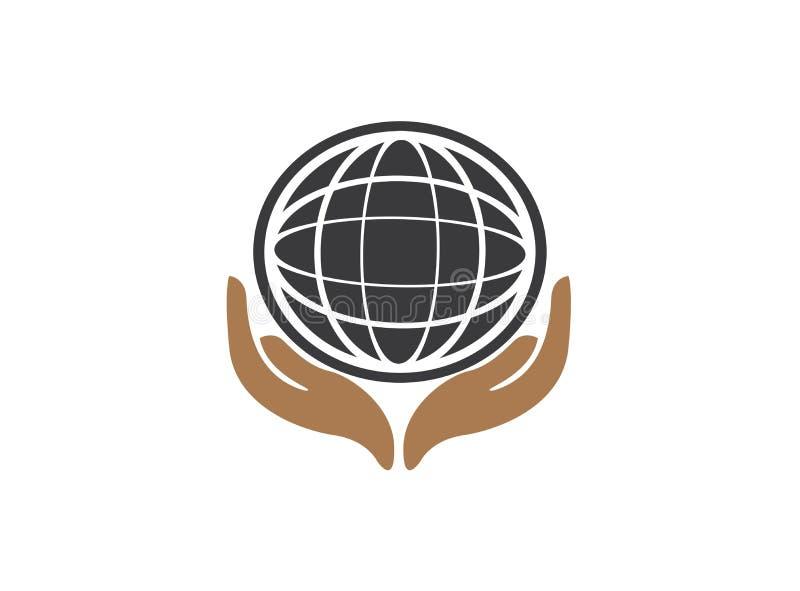 Planet linii mapa z ręki envirenment światową opieką dla logo projekta wektoru, ochrania kuli ziemskiej ikonę oprócz ziemskiego s royalty ilustracja