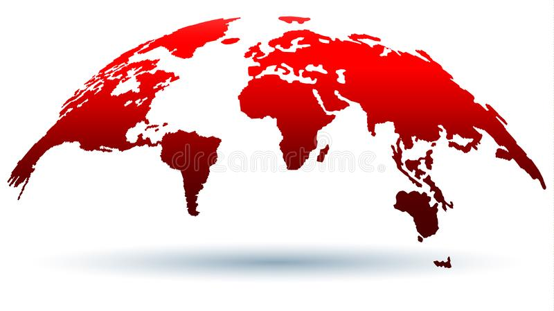 Planet in Love Passion Flame. Digital Globe Map. Trendy Map of the World Template in Red Color for Web Articles, Presentations & Projects. Vector Illustration royalty free illustration