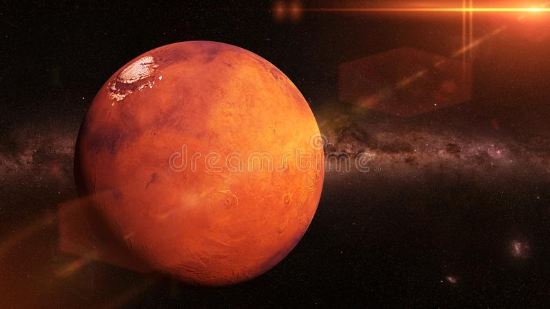 Planet Mars the beautiful Milky Way galaxy and the Sun 3d illustration, elements of this image are furnished by NASA vector illustration