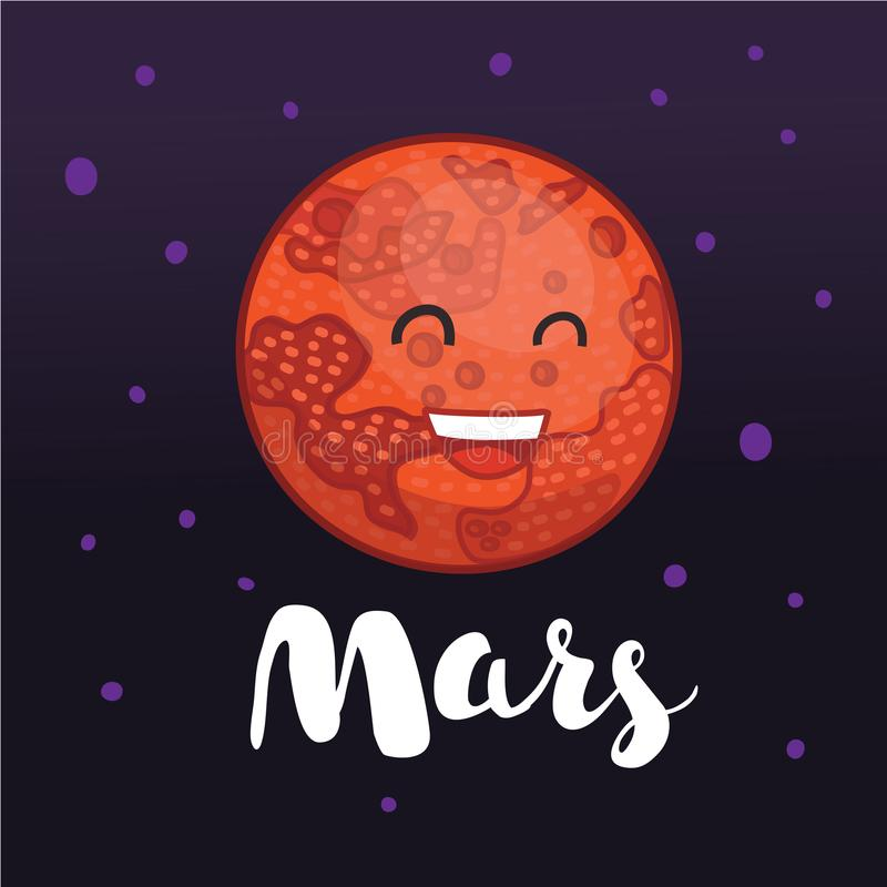 Planet Mars with cartoon face appeals to humans with a message about the availability of water on the red planet royalty free illustration