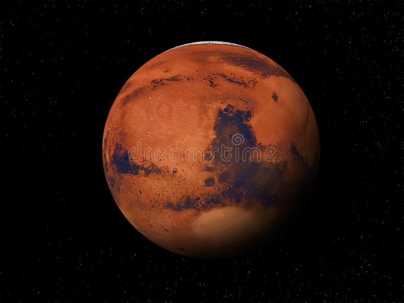 Planet Mars 3D. Planet Mars on the background of a large cluster of stars 3D stock photos