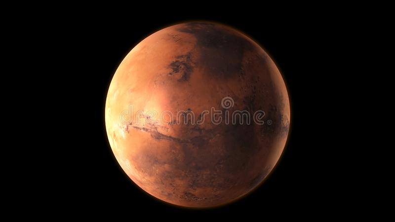 Planet Mars in the outer space. 3D Rendering stock illustration
