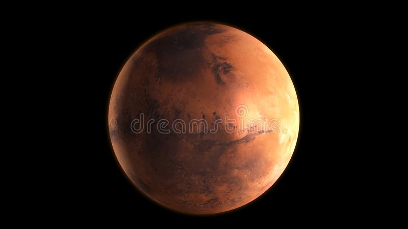 Planet Mars in the outer space. 3D Rendering royalty free illustration