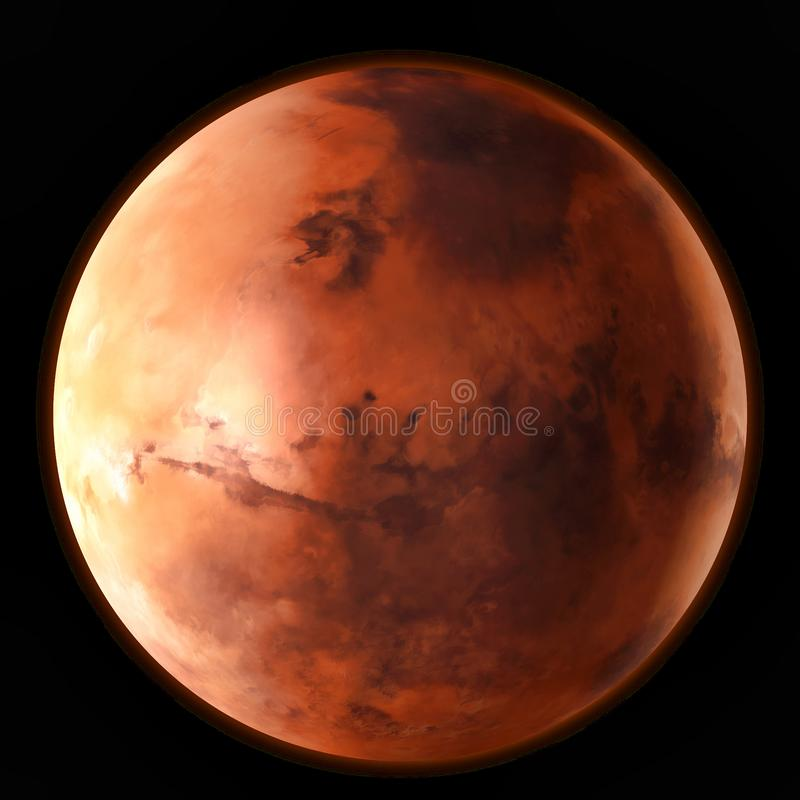 Planet Mars in the outer space. Watercolor, 3D illustration vector illustration