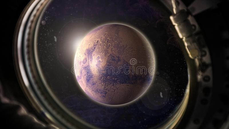 Planet Mars in space with sunlight view from the window of the spacecraft royalty free stock photos