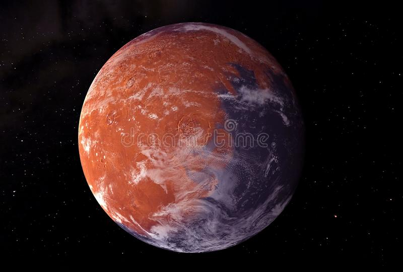 Planet Mars, with a white spot, on a dark background.  Elements of this image were furnished by NASA royalty free stock image