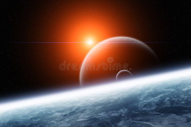 Planet med dubbla månar och stjärnskottet royaltyfri illustrationer