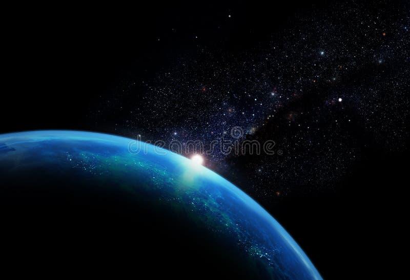 Planet med galaxen stock illustrationer
