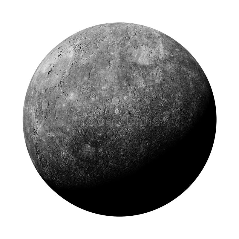 Planet Mercury isolated on white background. Mercury, the smallest planet of the solar system, cutout on white ground stock image