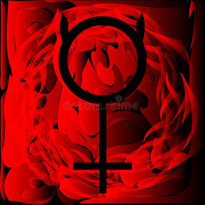 Planet Mercury symbol on background. Image representing the symbol of mercury planet on a background in red and black. An image that can be used in different vector illustration