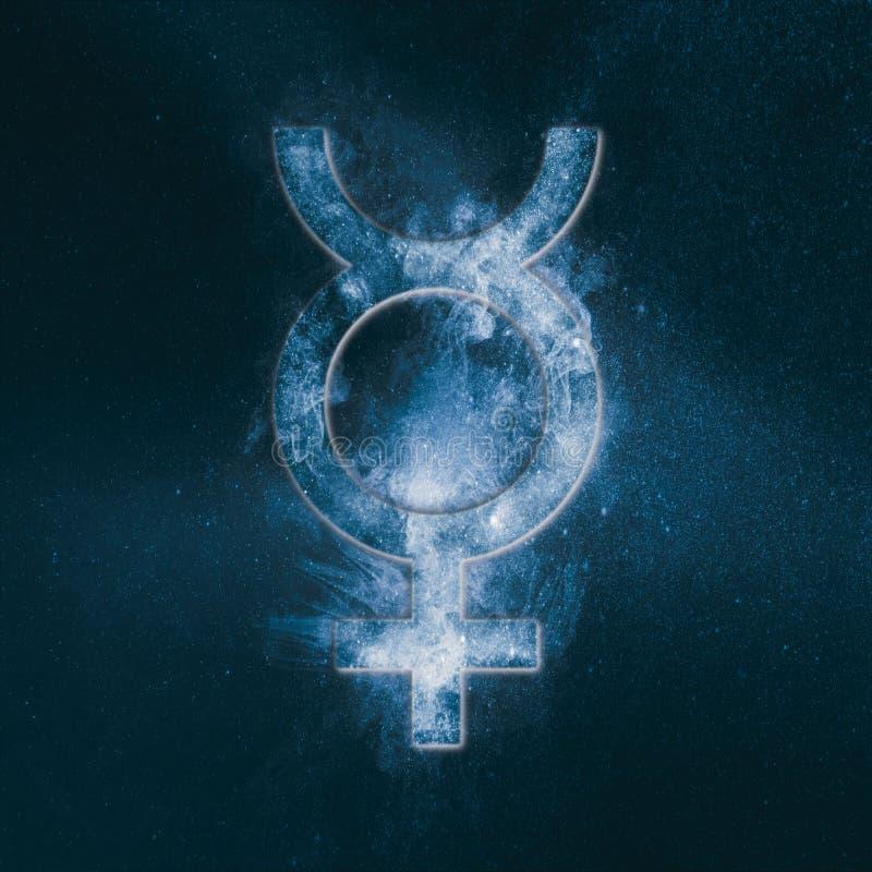 Planet Mercury Symbol Mercury-Zeichen Abstraktes backgrou des nächtlichen Himmels lizenzfreie abbildung