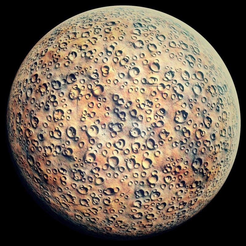 Planet mit Kratern auf einem Schwarzen lizenzfreie abbildung
