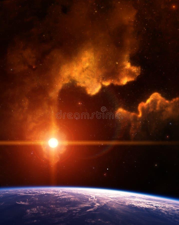 Planet mit Nebelfleck und rotem Stern lizenzfreie abbildung