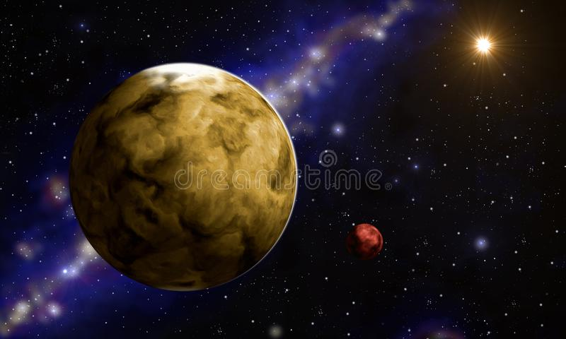 Planet mit it´s Mond vektor abbildung