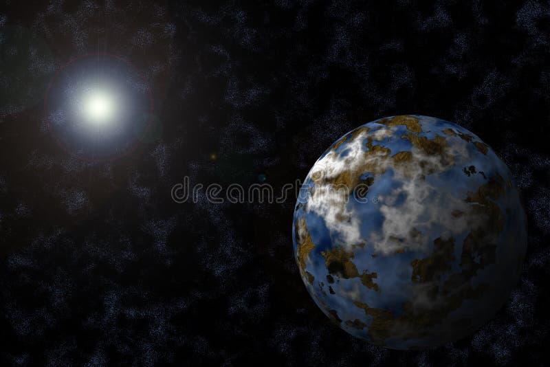 Planet mit Starfield und Aufflackern vektor abbildung