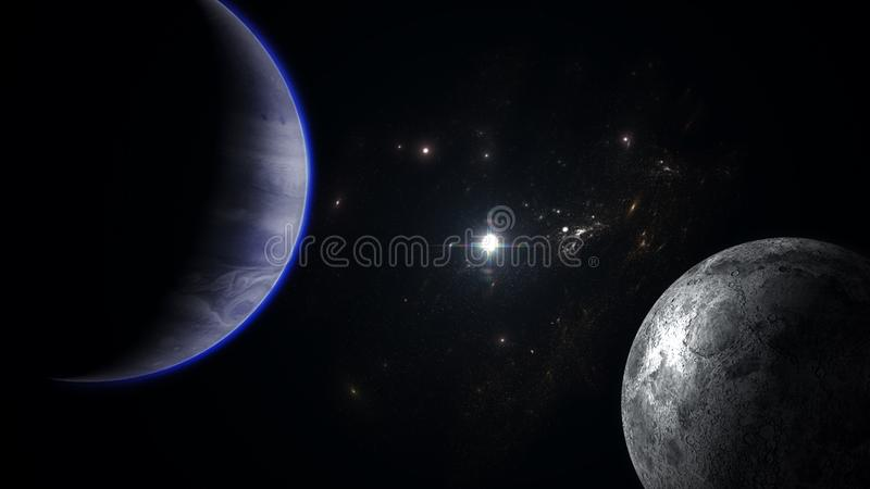 Planet and moon with galaxies. An illustration of a blue planet and a moon with galaxies on the background stock illustration