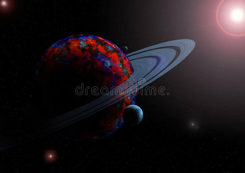 Planet and moons in space royalty free illustration