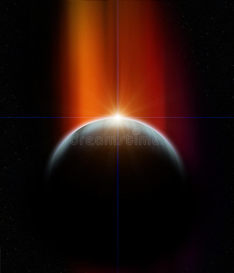 Planet with nebula and Rising Star stock photography