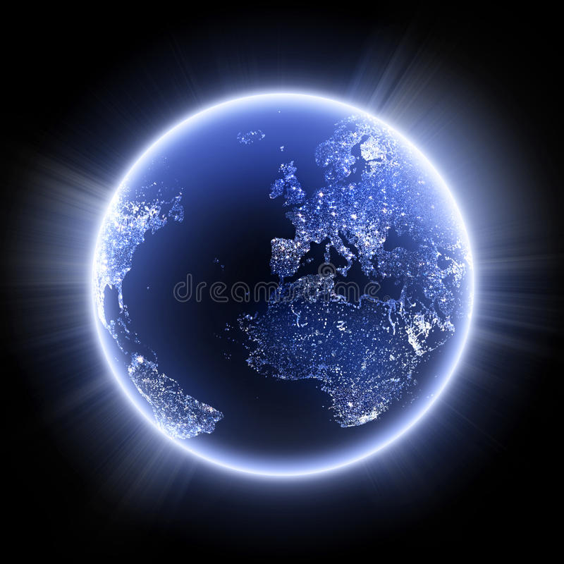 Planet in the night stock illustration