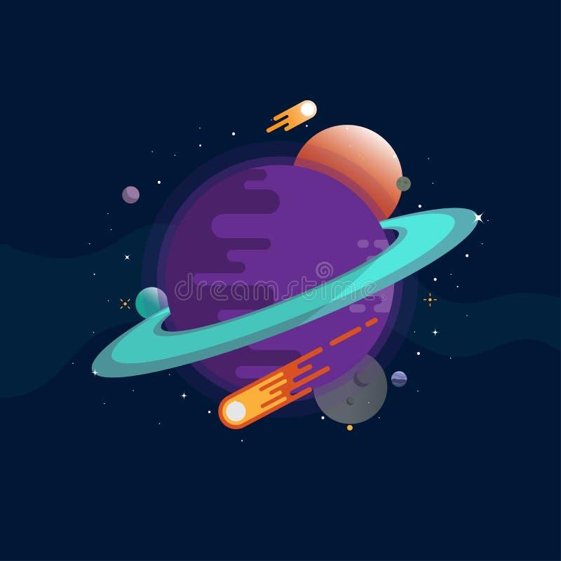 Planet och komet i universumet stock illustrationer
