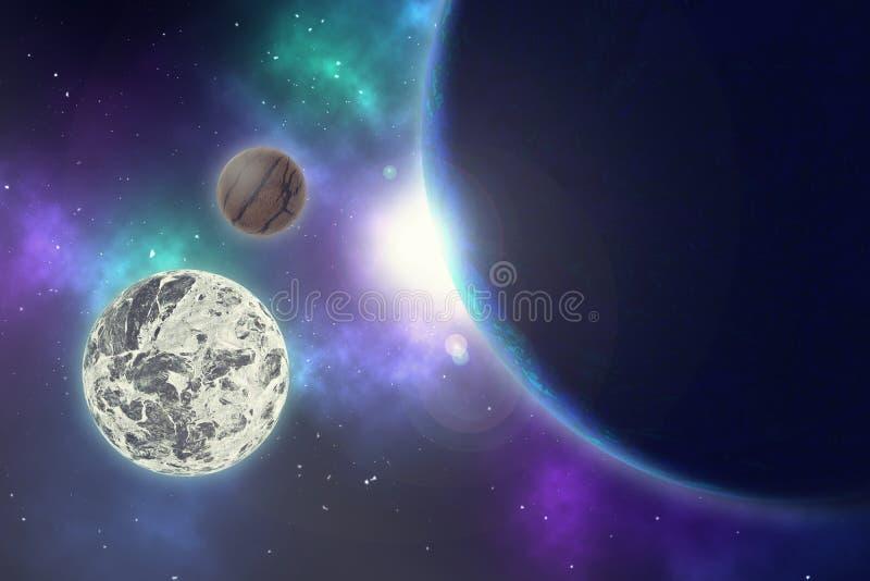 Planet och stjärnor i en galax för fritt utrymme vektor illustrationer