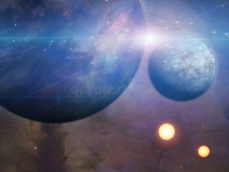 Planet och suns vektor illustrationer