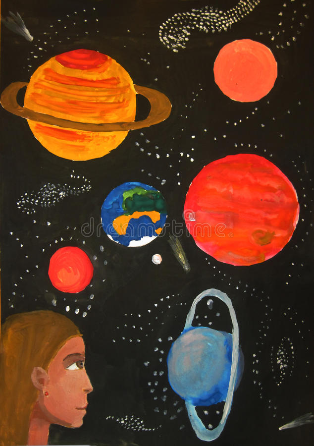 Planet. S and stars in space child art royalty free illustration