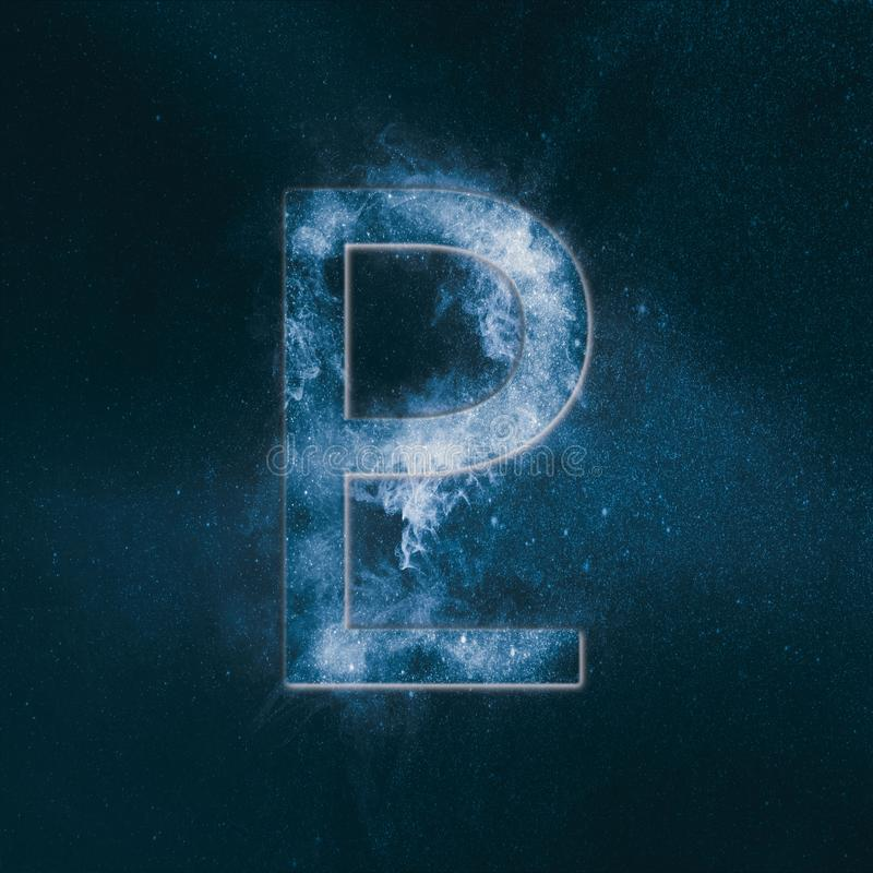 Planet Pluto Symbol. Pluto sign. Abstract night sky background. Symbol royalty free illustration