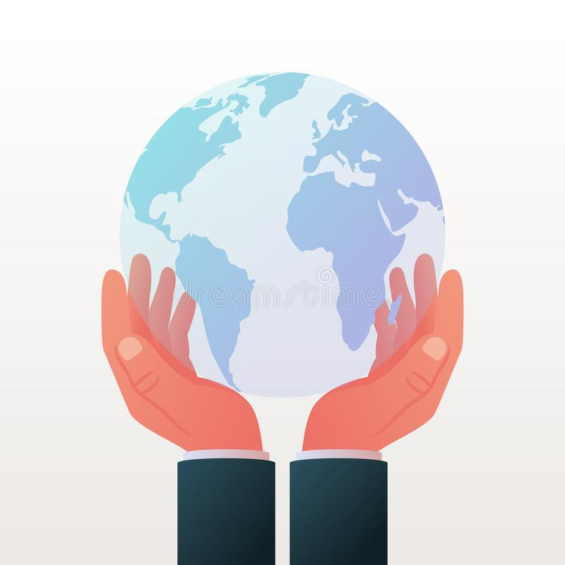 Planet protection concept. Globe in hands icon vector illustration