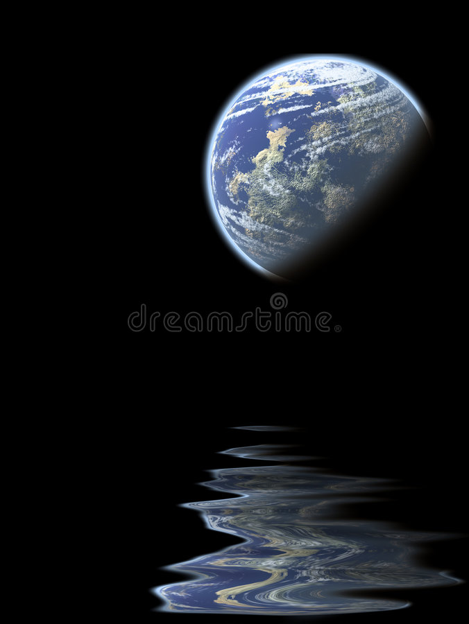 Planet reflection stock illustration