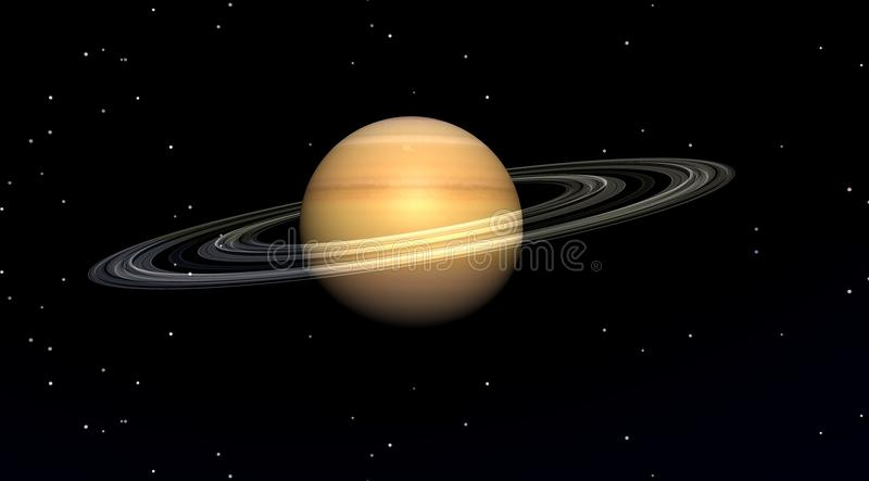 Planet saturn. In a black sky filled with stars vector illustration