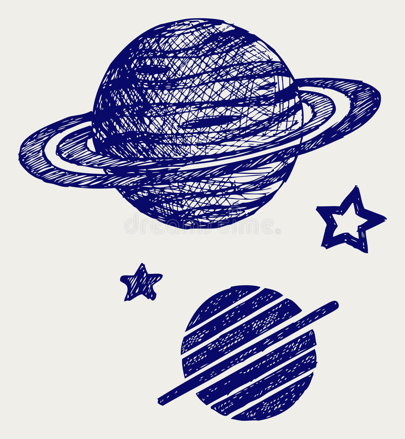 Planet Saturn stock illustrationer
