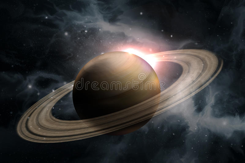 Planet Saturn Galaxy. Saturn planet solar system with stars in 3D illustration background stock illustration