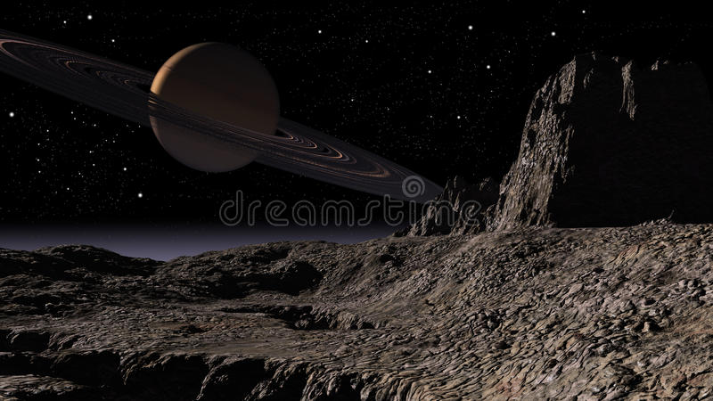 Planet Saturn. Space scene of a planet Saturn royalty free illustration