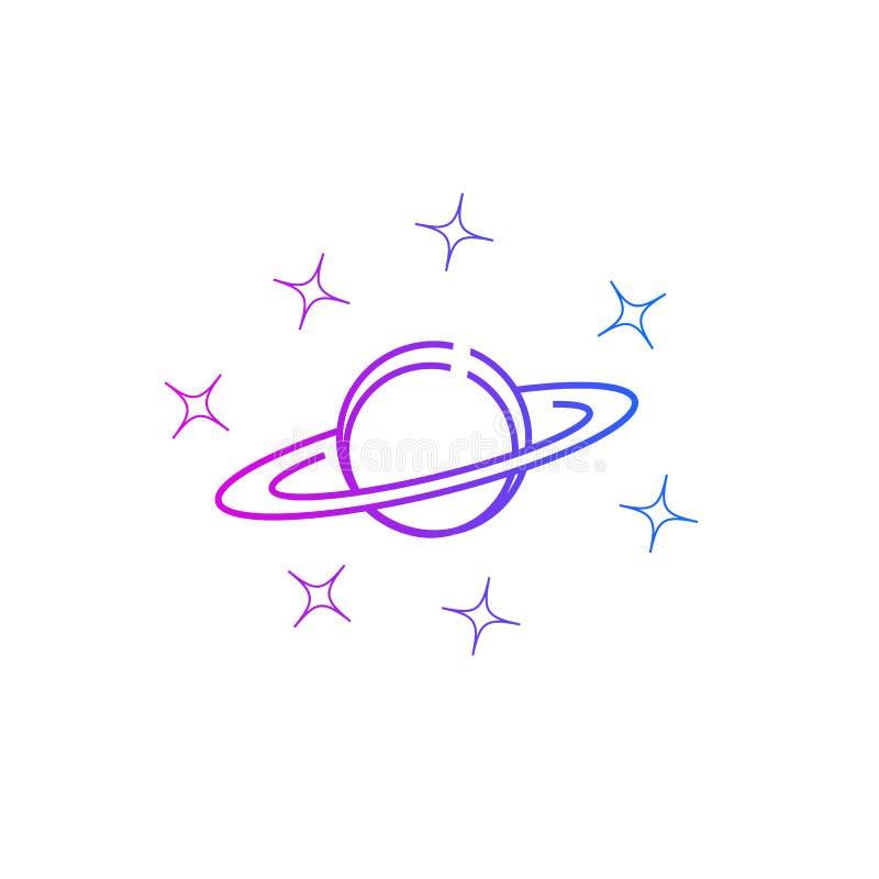 Planet Saturn und Sterne lizenzfreie abbildung