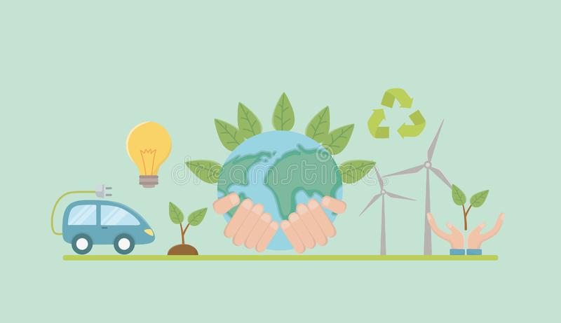 Planet and save energy  icon set design. Planet and icon set design, Save energy ecology power eco and environment theme Vector illustration royalty free illustration