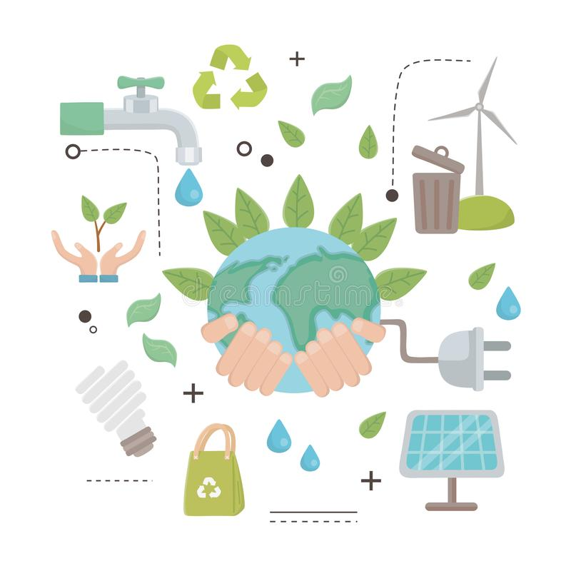 Planet and save energy  icon set design stock illustration