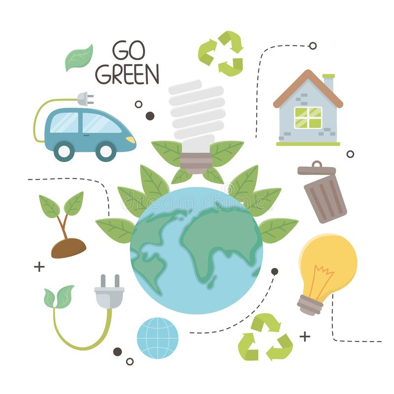 Planet and save energy  icon set design. Planet and icon set design, Save energy ecology power eco and environment theme Vector illustration vector illustration