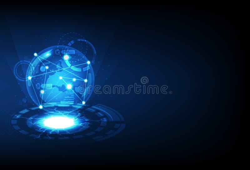 Planet som glöder, digital teknologi, illustration för vektor för bakgrund för futuristisk blå cirkelblixtelektricitet abstrakt stock illustrationer