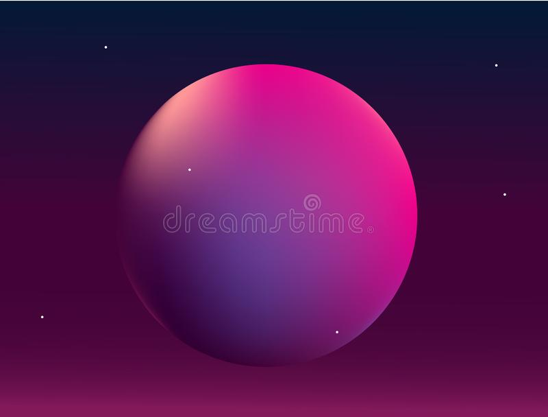 Planet in space. Abstract background with gradient ball royalty free illustration