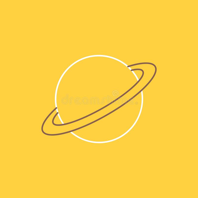 planet, space, moon, flag, mars Flat Line Filled Icon. Beautiful Logo button over yellow background for UI and UX, website or stock illustration