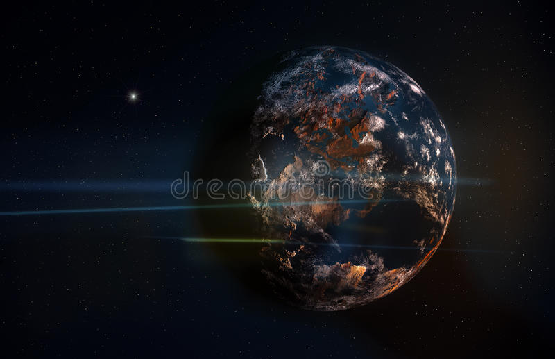 Planet in Space with Stars and Anamorphic Flares vector illustration