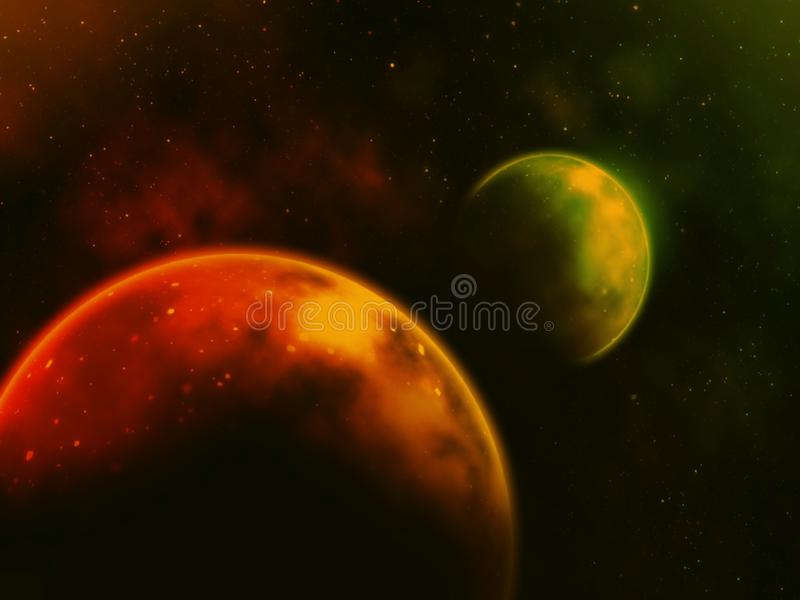 Planet and star light on dark background . Illustration concept. Science, galaxy, ufo, world, moon, bog, green, colors, red, shine, creative, idea, art, space stock image
